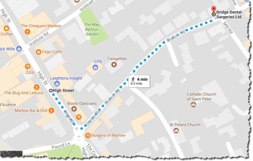 Route Marlow High Street to Bridge Dental Surgeries