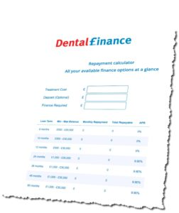Calculator for financing dental treatments